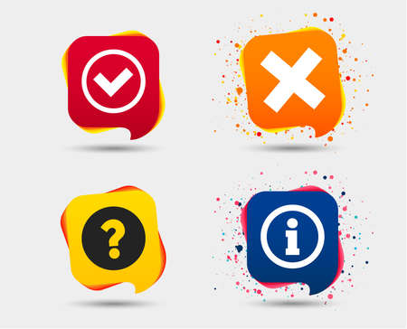 Information icons. Delete and question FAQ mark signs. Approved check mark symbol. Speech bubbles or chat symbols. Colored elements. Vector