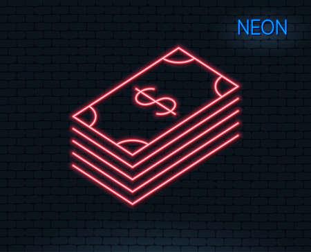 ネオンライト現金マネーラインアイコン。銀行通貨記号。ドルまたは米ドル記号。輝くグラフィックデザイン。レンガの壁ベクトル