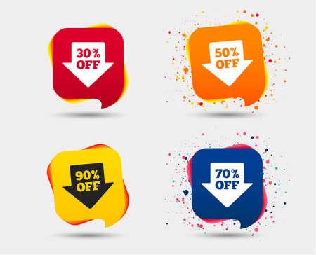 판매 화살표 태그 아이콘입니다. 특별 할인 기호를 할인하십시오. 30 %, 50 %, 70 % 및 90 %의 징후가 사라집니다. 연설 거품 또는 채팅 기호. 컬러 요소입니