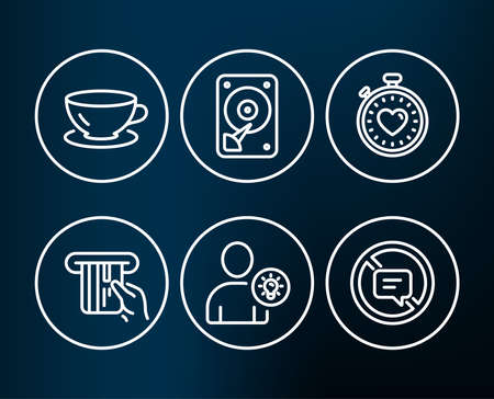 Set of Credit card, Hdd and User idea icons. Espresso, Heartbeat timer and Stop talking signs. Atm payment, Hard disk, Light bulb. Coffee cup, Love stopwatch, Do not talk.  Editable stroke. Vector Illustration