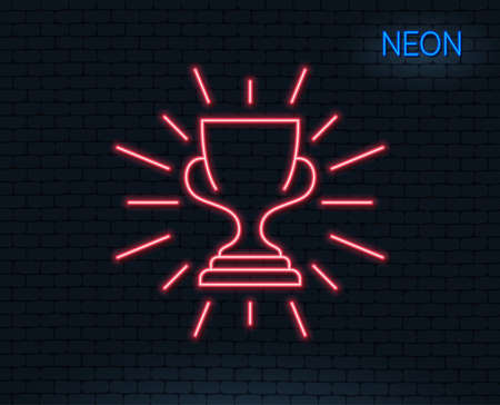 Neon light. Award cup line icon. Winner Trophy symbol. Sports achievement sign. Glowing graphic design. Brick wall. Vector