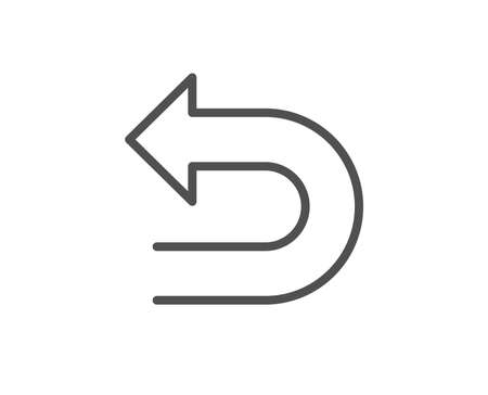 Undo arrow line icon. Left turn direction symbol. Navigation pointer sign. Quality design element. Editable stroke. Vector