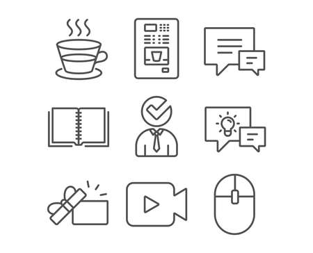 Set of Coffee cup, Vacancy and Comment icons. Coffee vending, Book and Video camera signs. Opened gift, Idea lamp and Computer mouse symbols. Tea mug, Businessman concept, Talk bubbles. Vector Stockfoto - 93842174
