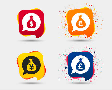 マネーバッグのアイコン。ドル、ユーロ、ポンド、円のスピーチバブルのシンボル。米ドル、ユーロ、英ポンド、日本円の通貨記号。音声バブルま