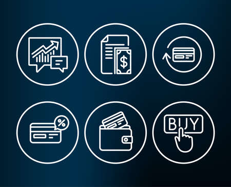 Set of Payment, Cashback and Refund commission icons. Accounting, Debit card and Buying signs. Cash money, Non-cash payment, Cashback card. Supply and demand, E-commerce shopping.  Editable stroke Reklamní fotografie - 93842230