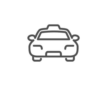 Taxi line icon. Client transportation sign. Passengers car symbol. Quality design element. Editable stroke. Vector