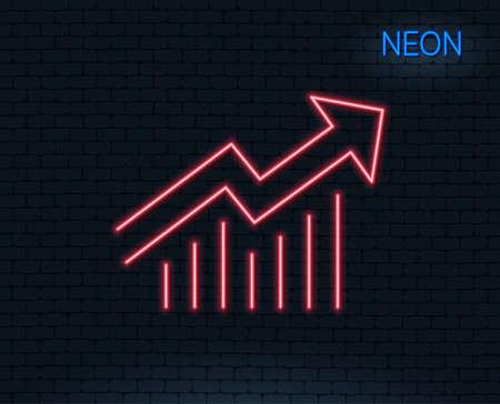 네온 불빛. 차트 라인 아이콘입니다. 보고서 그래프 또는 판매 성장 사인. 분석 및 통계 데이터 기호입니다. 빛나는 그래픽 디자인. 벽돌 벽. 벡터