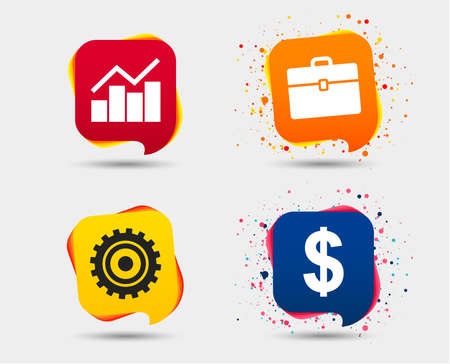 Business icons. Graph chart and case signs. Dollar currency and gear cogwheel symbols. Speech bubbles or chat symbols. Colored elements. Vector Çizim