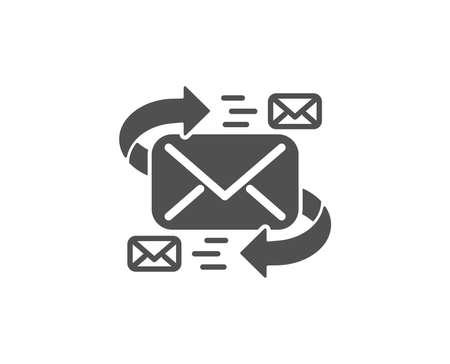 Mail eenvoudig pictogram. Communicatie met letters symbool. E-mail chat-teken. Kwaliteitsontwerpelementen. Klassieke stijl. Stock Illustratie