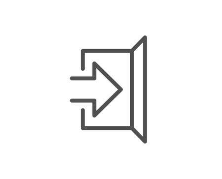 Liniensymbol beenden. Türschild öffnen. Einstiegssymbol mit Pfeil. Qualitäts-Design-Element. Bearbeitbarer Strich Vektor Vektorgrafik