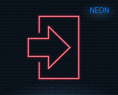 Neon light. Login arrow line icon. Sign in symbol. Navigation pointer. Glowing graphic design. 向量圖像