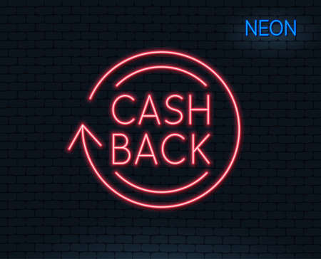 Neon light. Cashback service line icon. Money transfer sign. Rotation arrow symbol. Glowing graphic design. Illustration
