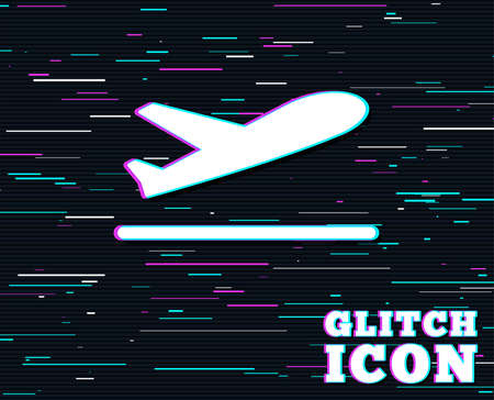 Glitch effect. Plane takeoff icon. Airplane transport symbol. Background with colored lines. Illustration