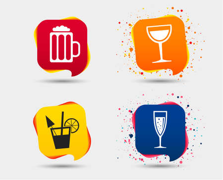 Alcoholic drinks icons. Champagne sparkling wine with bubbles and beer symbols. Wine glass and cocktail signs. Speech bubbles or chat symbols. Illustration