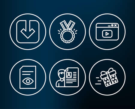 Set of View document, Load document and Honor icons. Video content, Job interview and Present delivery signs. Open file, Download arrowhead, Medal. Browser window, CV file, Shopping service.