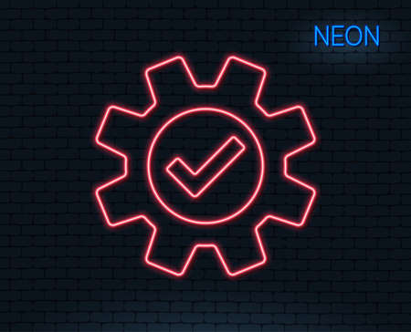 Neon light. Cogwheel line icon. Approved Service sign. Transmission Rotation Mechanism symbol. Glowing graphic design.