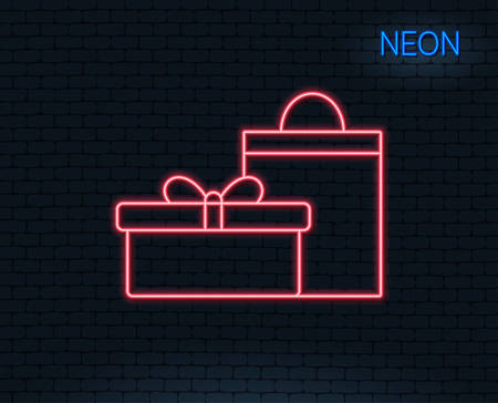 Neon light. Gift box with bag line icon. Present or Sale sign. Birthday Shopping symbol. Package in Gift Wrap. Glowing graphic design.