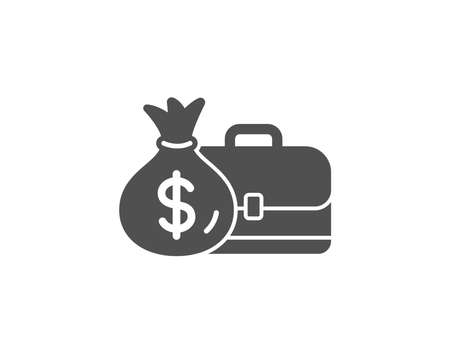 Business case simple icon. Portfolio and Salary symbol. Diplomat with Money bag sign. Quality design elements.