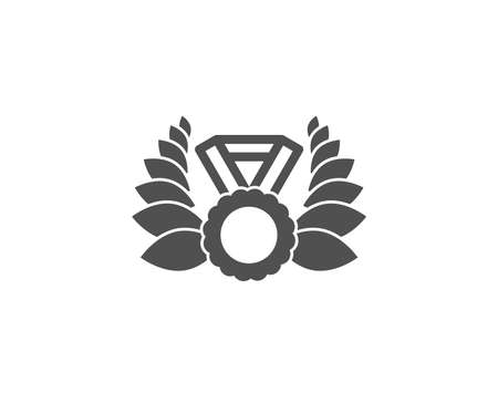Laurel wreath simple icon. Winner medal symbol. Prize award sign. Quality design elements.