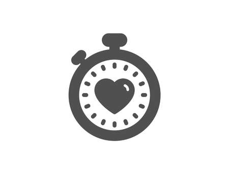 Heart in Timer simple icon. Love symbol. Valentines day stopwatch sign. Quality design elements.