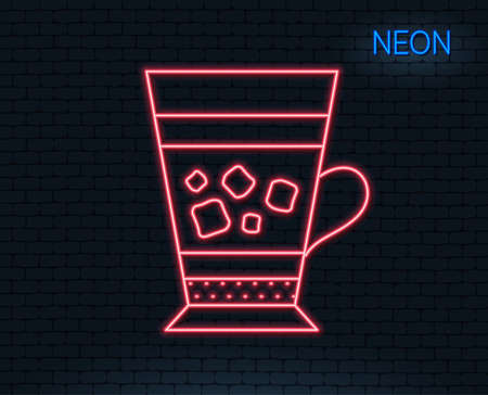 Neon light. Frappe coffee icon. Cold drink sign. Beverage symbol. Glowing graphic design.