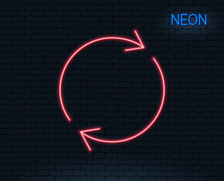 Neon light. Refresh line icon. Rotation arrow sign. Reset or Reload symbol. Glowing graphic design.