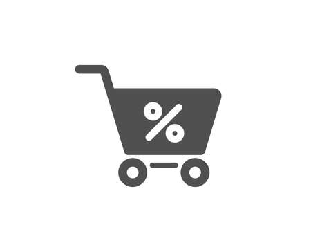 Shopping cart with Percentage simple icon. Online buying sign. Supermarket basket symbol. Quality design elements.