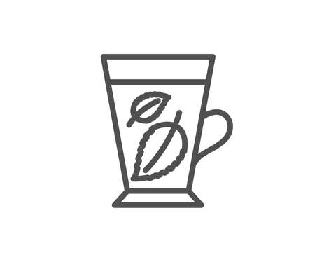 Mint Tea line icon. Fresh herbal beverage sign. Mentha leaves symbol. Quality design element. Banco de Imagens - 93833036