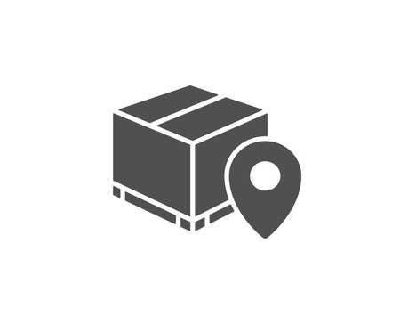Parcel tracking simple icon. Delivery monitoring sign. Shipping box location symbol. Quality design elements.
