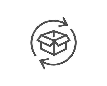 Exchange of goods line icon. Return parcel sign. Package tracking symbol. Quality design element. Editable stroke. Ilustração