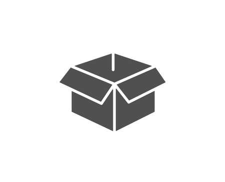 開いたボックスのシンプルなアイコン。ロジスティクス配送標識。区画トラッキング シンボル。品質設計要素。