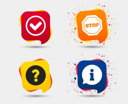 Information icons. Stop prohibition and question FAQ mark signs. Approved check mark symbol. Speech bubbles or chat symbols. Colored elements.