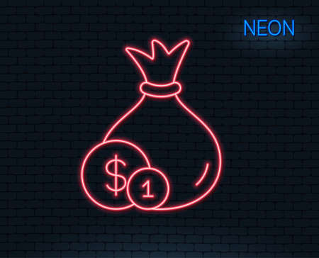 Neon light. Money bag with Coins line icon. Cash Banking currency sign. Dollar or USD symbol. Glowing graphic design. 向量圖像