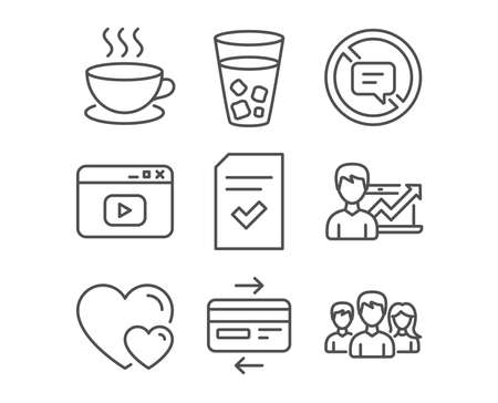 Set of Cappuccino, Credit card and Video content icons. Success business, Ice tea and Hearts signs. Checked file, Stop talking and Teamwork symbols. Espresso cup, Bank payment, Browser window.