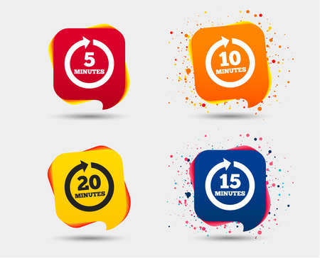 Every 5, 10, 15 and 20 minutes icons. Full rotation arrow symbols. Iterative process signs. Speech bubbles or chat symbols. Colored elements.