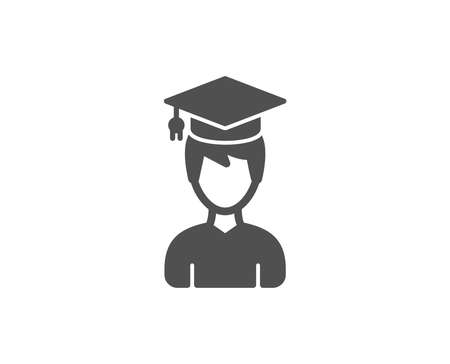 Man in Graduation cap simple icon. Education sign. Student hat symbol. Quality design elements.