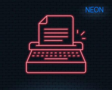 Neon light. Typewriter line icon. Copy writing sign. Writer machine symbol. Glowing graphic design.
