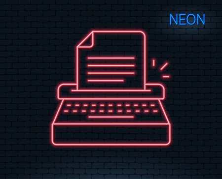 Neon light. Typewriter line icon. Copy writing sign. Writer machine symbol. Glowing graphic design.