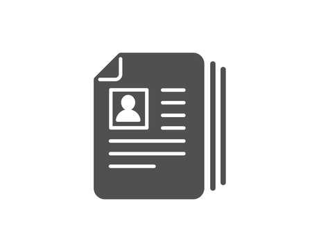 비즈니스 모집 간단한 아이콘입니다. CV 문서 또는 포트폴리오 기호. 품질 디자인 요소입니다.