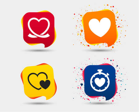 Heart ribbon icon. Timer stopwatch symbol. Love and Heartbeat palpitation signs. Speech bubbles or chat symbols.