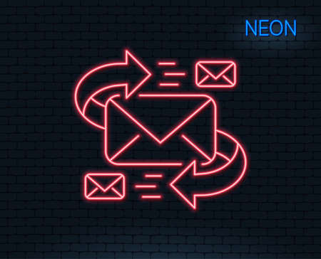 Neon light. Mail line icon. Communication by letters symbol. E-mail chat sign. Glowing graphic design. Illustration