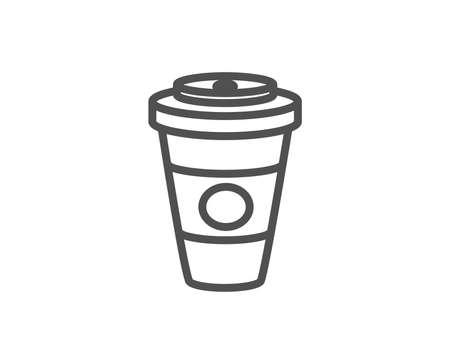 テイクアウトコーヒーまたはティーラインアイコン。ホットドリンクサイン。飲料のシンボル。品質設計要素。