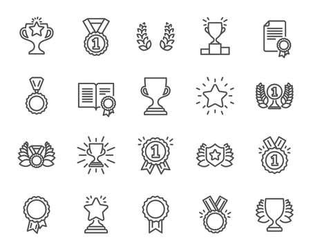 Iconos de la línea de premios. Conjunto de medalla de ganador, copa de la victoria y signos de corona de laurel. Recompensa, certificado y símbolos de mensaje de diploma. Escudo de gloria, premio y rango de estrellas. Elementos de diseño de calidad.