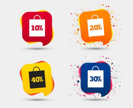 Verkoop bag tag pictogrammen. Korting speciale aanbieding symbolen. 10%, 20%, 30% en 40% procent kortingsborden. Tekstballonnen of chatsymbolen. Stock Illustratie