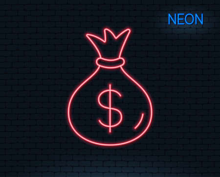 Neon light. Money bag line icon. Cash Banking currency sign. Dollar or USD symbol. Glowing graphic design.