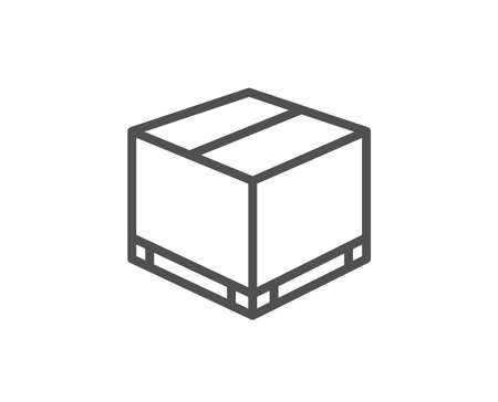 Parcel box line icon. Logistics delivery sign. Package tracking symbol. Quality design element.