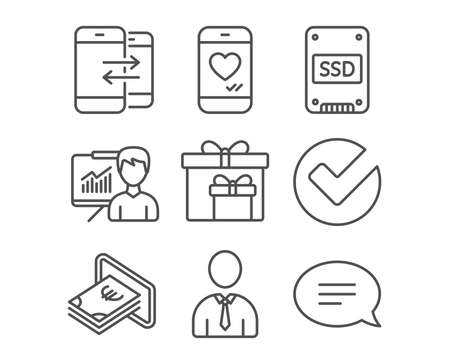 Set of Phone communication, Presentation and Verify icons. Love chat, Delivery boxes and Cash signs. Human, Incoming and outgoing calls. Education board. Selected choice. Illustration