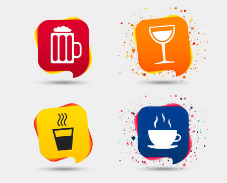 Drinks icons. Coffee cup and glass of beer symbols. Wine glass sign. Speech bubbles or chat symbols. Ilustracja