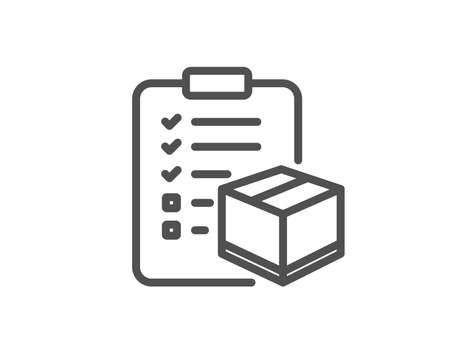 Parcel checklist line icon. Logistics check sign. Package control symbol. Quality design element. Editable stroke. Vector