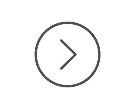 前方矢印線アイコン。次の矢印記号。次のナビゲーション ポインター記号。品質設計要素。編集可能なストローク。ベクトル